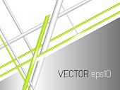 Abstract grey white background with green lines - technology concept