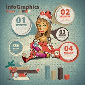 Template For Infographic About Christmas With A Santa Girl In Vintage Style