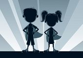 stock photo of defender  - Boy and girl superheroes, posing in front of light.