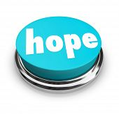 A blue round button with the word Hope to illustrate hoping for a better life or outcome, spirituali