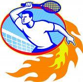 Tennis Player Racquet Retro