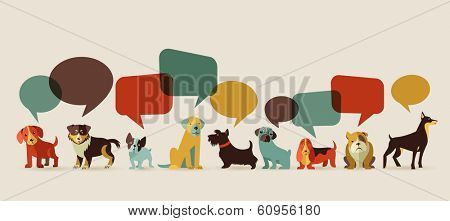 Dogs with speech bubbles - vector set of icons and illustrations poster