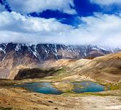 Mountain lakes in Spiti Valley in Himalayas. Himachal Pradesh, India