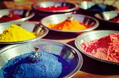 stock photo of holi  - Vintage retro hipster style travel image of India symbol  - JPG