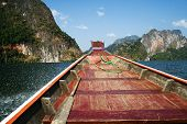 Wooden boats in ratchaprapa Dam,Khao Sok,Thailand