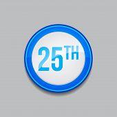 25th Circular Vector Blue Web Icon Button