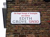foto of kensington  - Edith Grove street sign - JPG