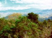Painting of a natural landscape in northern Thailand with Doi Inthanon in background