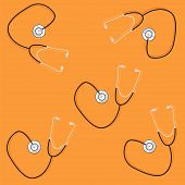 phonendoscopes on orange background