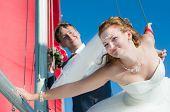 Happy Newlyweds On Walk