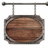 medieval wooden sign hanging on chains isolated on white