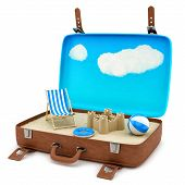 suitcase with a beach