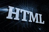 The word html against futuristic black and blue background