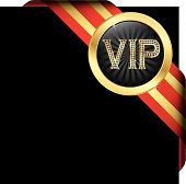Vip Golden Label With Diamonds And Gold Ribbons, Vector Illustration