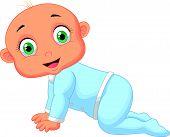 Crawling baby boy cartoon