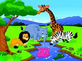 Cartoon Savannah scenery with animals and waterhole