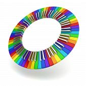 stock photo of rainbow piano  - Rainbow coloured piano keyboard circle - JPG