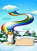 Illustration of a penguin near the empty signboard and a rainbow in the sky