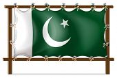 Illustration of a wooden frame with the flag of Pakistan on a white background
