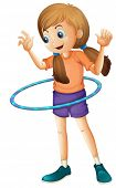 Illustration of a pretty teenager playing with the hulahoop on a white background