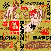art seamless vector pattern background with word Barcelona