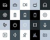 Multimedia icons. Flat style
