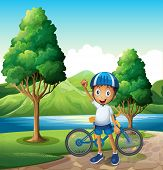 Illustration of a smiling young boy at the riverbank with his bike