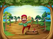 Illustration of a cheerful lumberjack in the middle of the trees