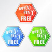 stock photo of free-trade  - buy one get one free three colors hexagons labels flat design business shopping concept - JPG