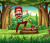 Illustration of a forest with a happy lumberjack