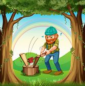 Illustration of a man chopping the woods near the trees