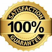 stock photo of 100 percent  - 100 percent satisfaction guarantee golden sign with ribbon vector illustration - JPG