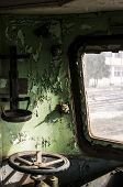 pic of railcar  - Part of control cabin of abandoned and crumbling railcar