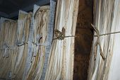 stock photo of attic  - Old documents in attic of municipality archive 