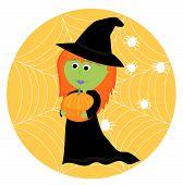 Cartoon cute little witch with pumpkin