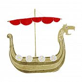 picture of viking ship  - cartoon viking ship - JPG