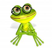 image of glass frog  - 3d illustration merry green frog in the glasses - JPG