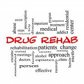 stock photo of mandate  - Drug Rehab Word Cloud Concept in red caps with great terms such as patients addicts help and more - JPG