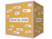 Financial Crisis 3D Cube Corkboard Word Concept