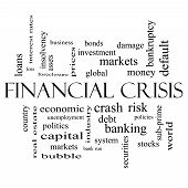 Financial Crisis Word Cloud Concept In Black And White