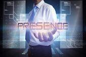 Businessman presenting the word presence against hologram on black background with squares
