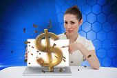 Digital composite of businesswoman pointing to her laptop showing dollar sign