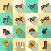 stock photo of horse-riders  - Horseback riding flat shadows icons set of horse rider sport dressage and horseshoe isolated vector illustration - JPG