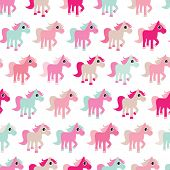 Seamless pink horse girls pony illustration background pattern in vector