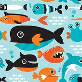 picture of sunfish  - Seamless funny kids fish types swimming in the ocean illustration background pattern in vector - JPG