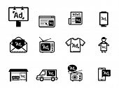 Advertisement icons set BW