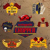 Motorcycle bike emblems set