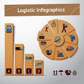 Logistic cardboard infographics elements