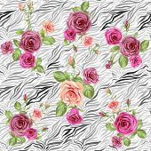 Stylish animal pattern and roses. Seamless vector