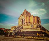 Vintage retro hipster style travel image of Buddhist temple Wat Chedi Luang. Chiang Mai, Thailand